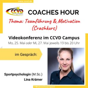 Coaches Hour zum Thema Teamführung & Motivation mit Sportpsychologin Lina Krämer